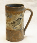 20oz. stoneware black bird mug